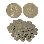 Nickled Brass Coins, Medium, 25mm, 100 count  BNCM