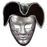 Venetian Mask Silver W/Headpiece 100-125432
