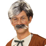 Geppetto Wig and Moustache - Grey   100-140475