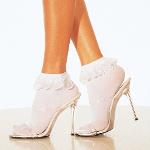 Lace Ruffle Ankle Socks White   100-141202