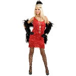 Fashion Flapper (Red) Adult Plus Costume 100-146084
