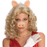 The Muppets Miss Piggy Wig w/Ears & Tiara Adult Costume 100-180169