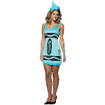 Crayola Sky Blue Crayon Tank Dress Adult Costume 100-188537