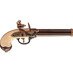 Italian Triple Barrel Flintlock Pistol Brass - Non-Firing FD1016L