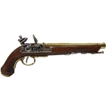 19th Cen. French Dueling Pistol - Brass - Non-Firing Replica,19th Century French Flintlock Dueling Pistol Brass Non-Firing