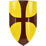 Medieval Heater Shield - Crusader Cross - Steel