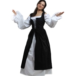 Ladies Peasant Dress in Black