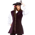 Plus Size Burgundy Velvet Pirate's Vest