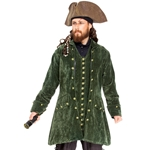 Hunter Green Velvet Pirate's Coat