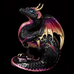 Scratching Dragon Sculpture Black Gold