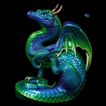 Scratching Dragon Sculpture Emerald Peacock WE-506-EP