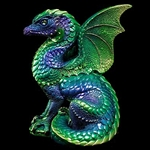 Spectral Dragon Sculpture emerald peacock WE-514-EP
