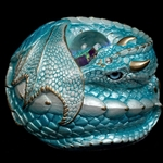 Curled Dragon in Aquamarine Statue