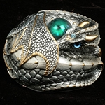 Curled Dragon Sculpture - Silver with Blue eyes