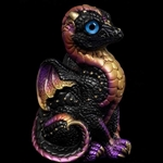 Baby Dragon Black Gold Statue