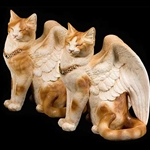 Eye-Shut Large Flap Cat - Orange and White Statue