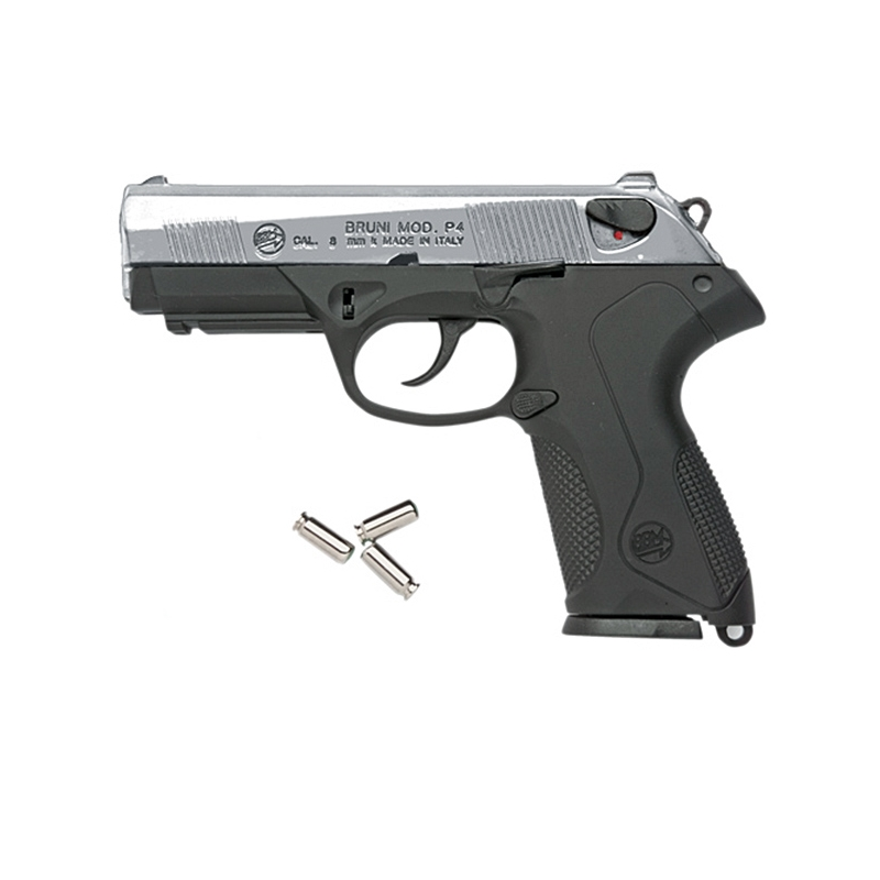 Bruni P4 Italian Semi Automatic Blank Firing Gun Nickel 8mm