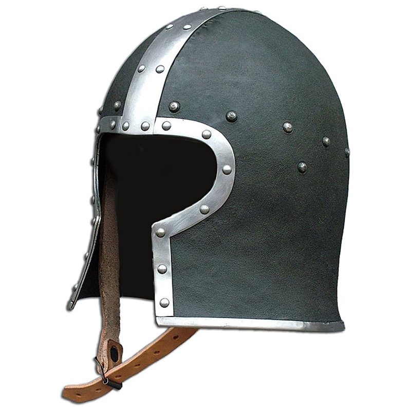 Leather Covered Medieval Barbute Helmet - 15th Century