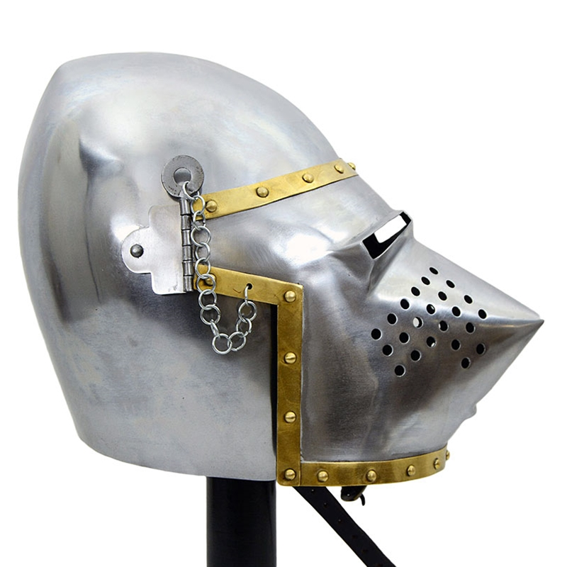 Medieval Pig-Faced Bascinet Helmet - 18 Gauge