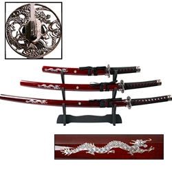 3 Piece Samurai Sword Set Samurai Katana Wakizashi Tanto