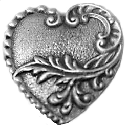 Victorian Heart Pewter Button
