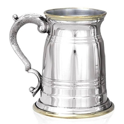 Old London Brass Lip And Base One Pint Pewter Tankard