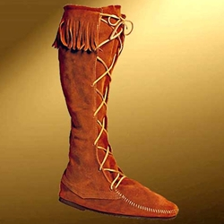 Mens High Suede Boot with Fringe