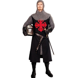 Medieval Crusader Tunic - Black with Red Cross