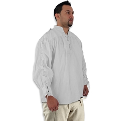 Renaissance Cotton Shirt with Laced Sleeves, White, Medium