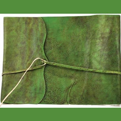 Green Scroll Leather Sketch Book