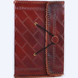 Southwest Side Stitched Leather Journal Blank Book Large 45-BBBCSOU