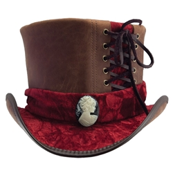 By The Sword - Velvet and Leather Top Hat in Brown and Burgundy aedf1a06dcc