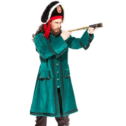 Green Velvet Pirate's Coat - Plus Size