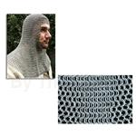 Chainmail Coif, Butted, Full Mantle, Square Face, Code B AB2547 High Tensile Steel Rings