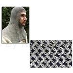 Chainmail Coif, Alternating Flat Ring Wedge Riveted, Full Mantle, Square Face, Code 2 AB2550