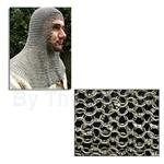 Chain mail Coif, Round Ring Dome Riveted, Full Mantle, Square Face, Code 8 AB2556