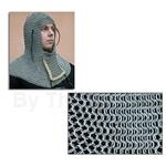 Chainmail Coif With Ventail, Down to Up, Leather Trim, Code B AB2593 Butted High Tensile Steel Rings