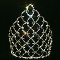 "10"" Traditional Rhinestone Crown - Silver 172-11185S"