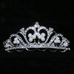 Royal Pearl and Pave Rhinestone Tiara 172-12063