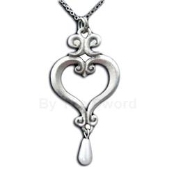 Pearl Drop Renaissance Heart Necklace 21-2210