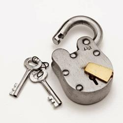 Wild West Padlock with keys sold at By The Sword Inc.
