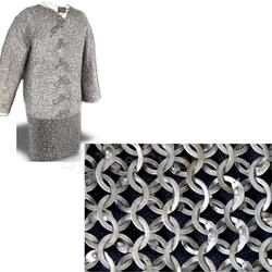 "Chain Mail Hauberk Knee Length 48"" Chest Code 2 AB2484 Alternating Rows Wedge Riveted - Solid Flat Rings."
