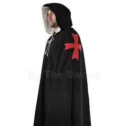 Knights Templar Cloak Black Wool GB3108 Get Dressed For Battle