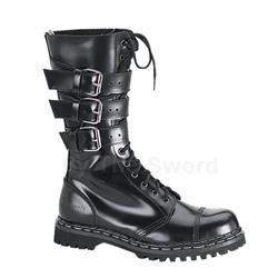 Gravel 3 Buckle Leather Combat Boots 34-3236