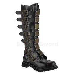 Steam Metal Strap Leather Boots 34-3272