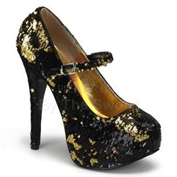 Teeze Gold Sequin Buckle Strap Platform Pumps
