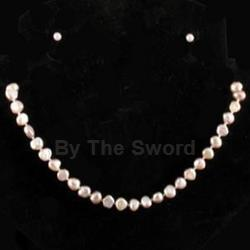 Luminous Pink Freshwater Pearl Necklace & Earrings Set 37-4078