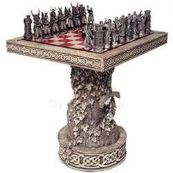 ARTHURIAN CHESS SET W/ TABLE & DISPLAY STAND 43-MECEKIT