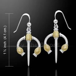 Danu Silver and Gold Thistle Earrings 52-MER551