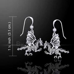 Silver Clawing Dragon Earrings 52-TE993